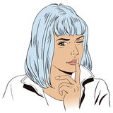 A menina quer o silêncio Povos no estilo retro ilustração do vetor