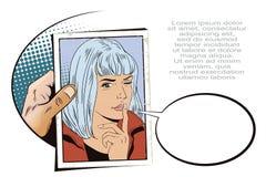 A menina quer o silêncio Povos no estilo retro ilustração royalty free