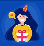 A menina realiza em suas mãos um presente e deseja o feliz aniversario ilustra??o do vetor do car?ter ilustração stock