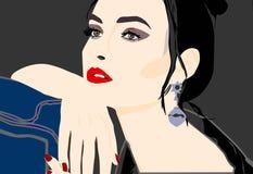 Menina realmente bonita que levanta para o photopgrapher ilustração royalty free