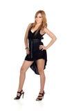 Menina rebelde adolescente com um vestido preto Imagem de Stock Royalty Free