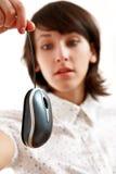 Menina receosa do rato do computador Fotos de Stock Royalty Free