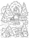 A menina recolhe cogumelos Imagem de Stock