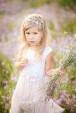 A menina recolhe flores selvagens fotos de stock