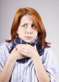 Menina red-haired doente com lenço fotografia de stock