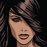 Menina Retrato Mulher moreno de olhos verdes ilustração stock