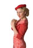 Menina retro com sanduíche Fotografia de Stock Royalty Free