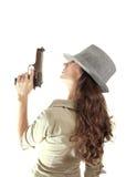 Menina retro da máfia do perfil isolada Foto de Stock