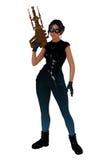 Menina retro do scifi com a grande arma da mão Fotografia de Stock Royalty Free