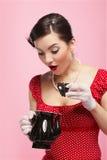 Menina retro e teapot fotografia de stock royalty free