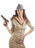 Menina retro engraçada da máfia Imagem de Stock