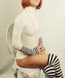 Menina retro séria Foto de Stock Royalty Free