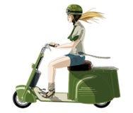 Menina Risa do motociclista. Foto de Stock