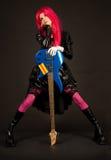 Menina romântica com guitarra baixa Fotos de Stock Royalty Free
