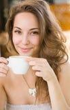 Menina romântica do café. Imagem de Stock Royalty Free