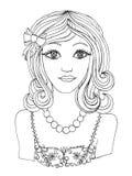 Menina romântica bonita gir da princesa da ilustração cartaz da menina Foto de Stock