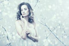 Menina romântica que olha afastado no vestido na fantasia do inverno estabelecida Imagem de Stock Royalty Free