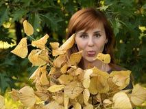 Menina ruivo com folhas amarelas Imagem de Stock Royalty Free