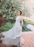 Menina ruivo em um vestido modesto, cinzento, de seda no estilo rústico, que vibra no vento Retrato da noiva contra fotografia de stock royalty free
