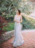 Menina ruivo em um vestido modesto, cinzento, de seda no estilo rústico, que vibra no vento Retrato da noiva contra fotografia de stock