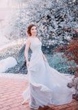 Menina ruivo em um vestido modesto, cinzento, de seda no estilo rústico, que vibra no vento Retrato da noiva contra imagens de stock