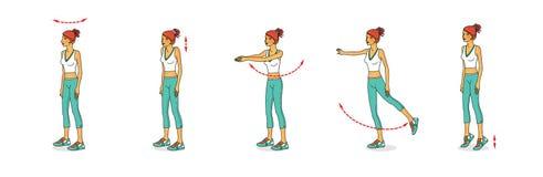 A menina ruivo executa exercícios, vários balanços, voltas, elevadores para reforçar os músculos do corpo ilustração do vetor