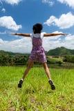 A menina salta Fotografia de Stock