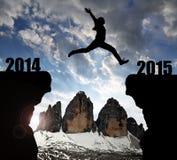 A menina salta ao ano novo 2015 Fotos de Stock