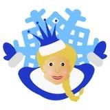 A menina Santa Claus com uma coroa sob a forma do floco de neve um ícone no fone branco dlya a imprensa, camisetas, t-shirt, tela Imagem de Stock Royalty Free