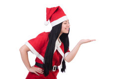 Menina Santa da neve no conceito do Natal isolada Imagens de Stock