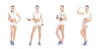Menina saudável, desportiva e bonita isolada no fundo branco Mulher em uma coleção do exercício da aptidão Nutrição, dieta imagens de stock royalty free
