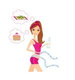 Menina saudável que mede sua cintura Fotografia de Stock Royalty Free