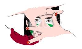 A menina seleciona o quadro ilustração do vetor