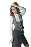 Menina Self-critical Fotografia de Stock