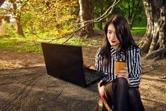 A menina senta-se com um portátil na natureza Fotografia de Stock Royalty Free