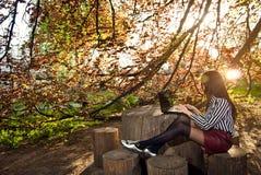 A menina senta-se com um portátil na natureza Imagem de Stock Royalty Free