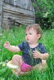 A menina senta-se em um gramado do trevo. Imagem de Stock