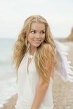 A menina 'sexy' bonita com as asas no seacoast Fotos de Stock Royalty Free