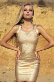 Menina 'sexy' com cabelo louro longo no vestido do ouro que levanta na praia Imagens de Stock Royalty Free