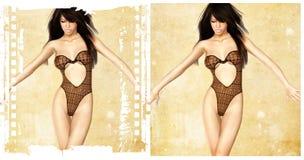 MENINA 'SEXY' COM ROUPA INTERIOR PRETA Fotos de Stock Royalty Free