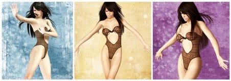 MENINA 'SEXY' COM ROUPA INTERIOR PRETA Fotografia de Stock Royalty Free