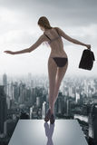 Menina 'sexy' com saco de trabalho Foto de Stock