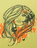 Menina 'sexy' de cabelos compridos com borboletas. Imagem de Stock