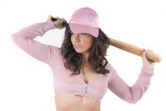 Menina 'sexy' do basebol com tampão cor-de-rosa Foto de Stock