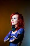 Menina 'sexy' do DJ com auscultadores Imagens de Stock