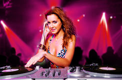 Menina 'sexy' do DJ do blonde Fotos de Stock Royalty Free