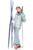 A menina 'sexy' do inverno com cinza ostenta o terno e os esquis Fotografia de Stock Royalty Free