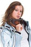 Menina 'sexy' do inverno com o terno e vidros cinzentos dos esportes Imagem de Stock