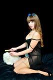 Menina 'sexy' do pino-acima com gato Fotos de Stock Royalty Free
