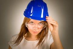 Menina 'sexy' em um capacete Foto de Stock